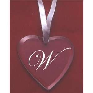 Glass Heart Ornament with the Letter W