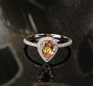 72ct Pear Cut Citrine .21ct Diamond 14K Yellow Gold Pave Halo
