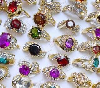 wholesale50pcs rhinestone&CZ&gold plated ring#6 10 free