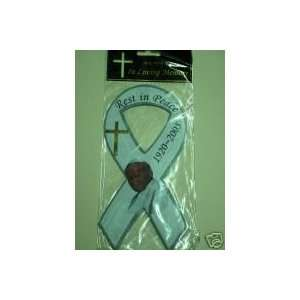 Pope John Paul Ii 8 Magnet White with Golden Cross and Face Picture