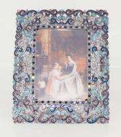 Swarovski Crystal Blue Filigree Rectangle Picture Frame