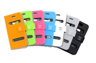 Black Table Talk Flip Leather Pouch Case Skin Cover for Apple iPhone 4