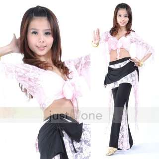 SEXY Belly Dance Dancewear Long Sleeve Lace Tops + Pants Skirt 2 PCS