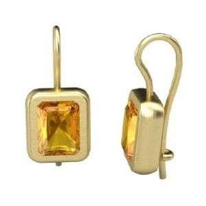 Dream Earrings, Emerald Cut Citrine 14K Yellow Gold