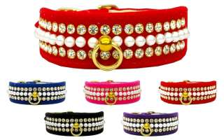 Velvet Mini Pearls and Crystals Pet Dog Collar