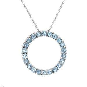 White Gold 1.76 CTW Topaz Circle Ladies Necklace. Length 18 in. Total