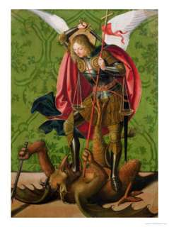 St. Michael Killing the Dragon Giclee Print by Josse Lieferinxe at