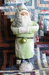 Soft Green Belsnickle Santa Paper Mache Container |