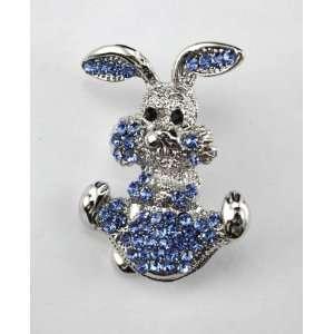 Blue Swarovski Crystal Happy Bunny Brooch Pin