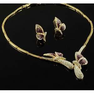 Wedding Bridal Prom Gold Plated Crystal Butterflies Necklace Earrings