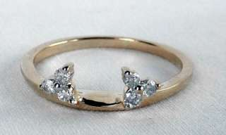 LOVELY 14k YELLOW GOLD DIAMOND WEDDING BAND RING GUARD WRAP INSERT