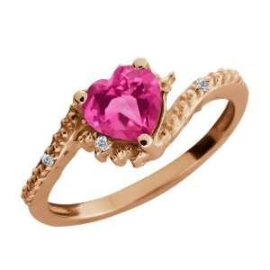 0.92 Ct Heart Shape Pink Mystic Topaz and White Diamond