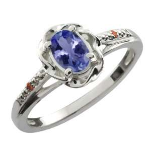 0.46 Ct Oval Blue Tanzanite Cognac Red Diamond 10K White