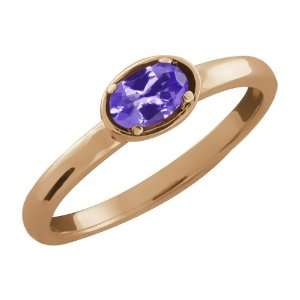 0.23 Ct Oval Blue Tanzanite Gold Plated Argentium Silver