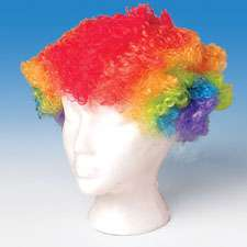 Clown Wig Toy Neon Rainbow Color Bozo Hair New in Bag