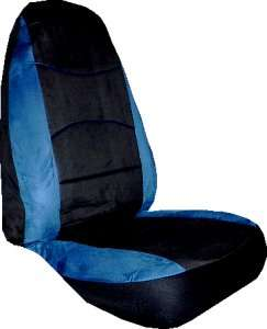 BLUE BLACK BRUSHED FAUX SYNTHETIC SUEDE CAR TRUCK SUV SEAT COVERS HB