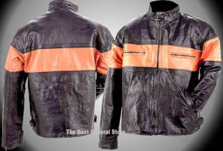 Mens Pebble Grain Black Leather Motorcycle Jacket with Orange Stripe