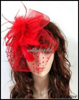 Lady Feather Veil Millinery Hair Clip Hat Fascinators