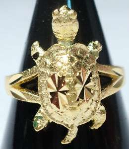 GORGEOUS TURTLE REAL 24K YELLOW GOLD PLATED BRASS RING