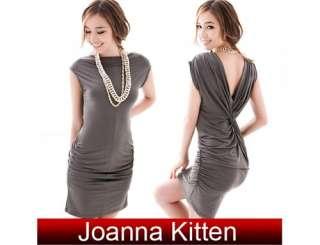 New fashion Womens Sexy V neck Cocktail clubwear Party Mini dress Grey