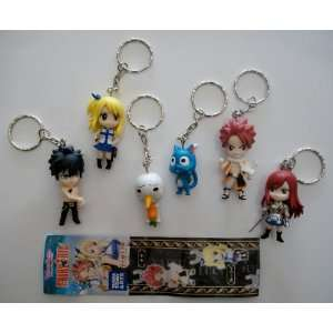 6 Fairy Tail Anime Characters Keychains Set by Takara Tomy