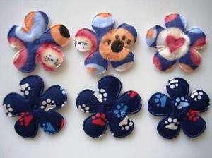 40 Paw & Pet Print Flower Applique/dog/cat/bow H350