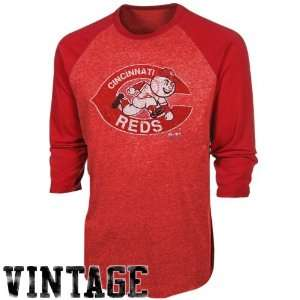 Grand Slam Tri Blend Three Quarter Sleeve Raglan T Shirt   Red (Medium
