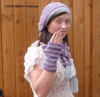 LADIES HAT SCARF FINGERLESS GLOVES CROCHET PATTERN #152