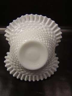 Fenton White Art Glass Hobnail Basket Bowl