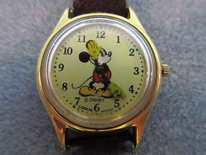 Rare Ladys Disney Mickey Mouse Watch Gold Face No Second Hand