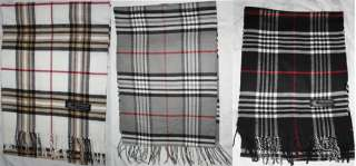 100% Cashmere Winter Scarf, Super Soft Plaid Black White Gray Italy