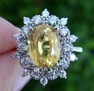 Estate 5.79 ct Natural Yellow Sapphire Diamond Engagement Cocktail