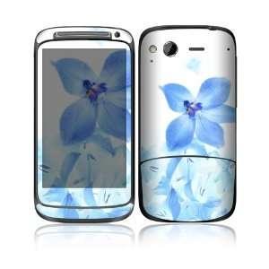 HTC Desire S Decal Skin   Blue Neon Flower Everything