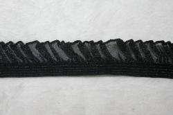 yds BLACK Gray stretch ruffle organza Mesh Lace trim