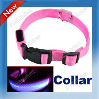 New Nylon Blue LED Dog Pet Flashing Light Up Safety Collar Pink Large