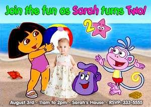 DORA THE EXPLORER POOL PARTY BIRTHDAY INVITATIONS