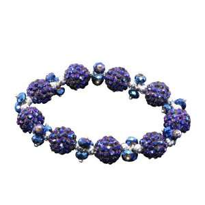 Royal Blue Faceted Crystals Peacock Disco Balls Silver Beads Bracelet