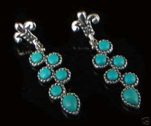 Sterling Silver Natural Blue Turquoise Earrings CUTE