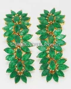 43.53 CT Real Emerald 18K GOLD Fine Jewelry Earrings Thai