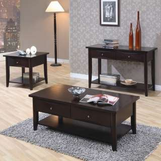 Contemporary Cappuccino Coffee & End Table 3 Piece Set