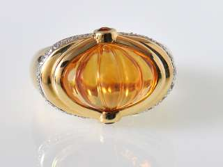 Gadi 18K Yellow Gold Diamond Citrine Garnet Ring