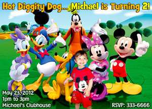 MICKEY MOUSE PHOTO BIRTHDAY PARTY INVITATIONS FIRST