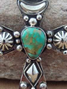 Large Silver & Turquoise Cross Pendant by Albert Cleveland AC