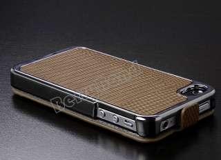 Brown Deluxe Snake Flip Leather Chrome Case Cover Skin for Apple