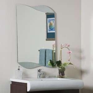 Wave Rectangle Clear Glass Modern Frameless Wall Mirror