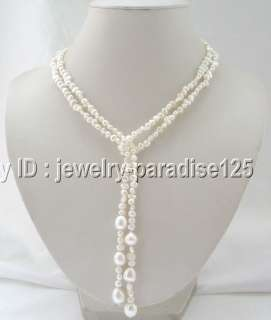 Beautiful 455 6 9 10mm white freshwater pearl necklace