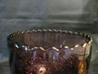 Amethyst Depression Glass Goblet Purple Scalloped Edges Starburst