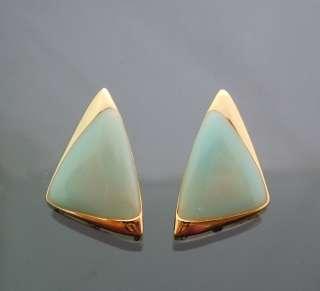 Vintage Jade Green Enamel Coated Triangle Earrings Gold GP Post 3cm