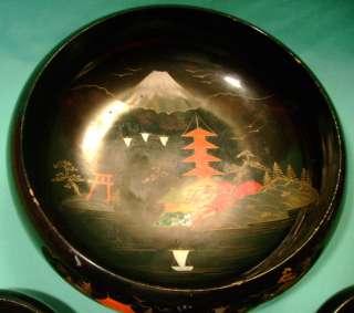 Vintage 1950s Black Lacquered Wood Japanese Salad Bowl Set