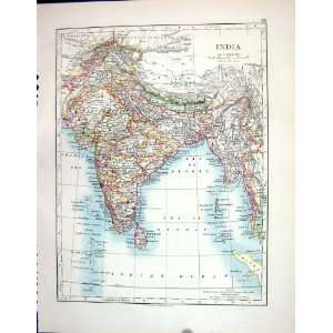 India Ceylon Bay Bengal Tibet Johnston Antique Map 1898